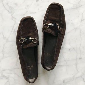 Stuart Weitzman Brown Suede Smoky Quartz Loafers